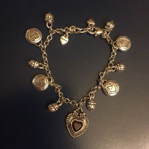 Brighton silver charm bracelet w/Ruby ❤️